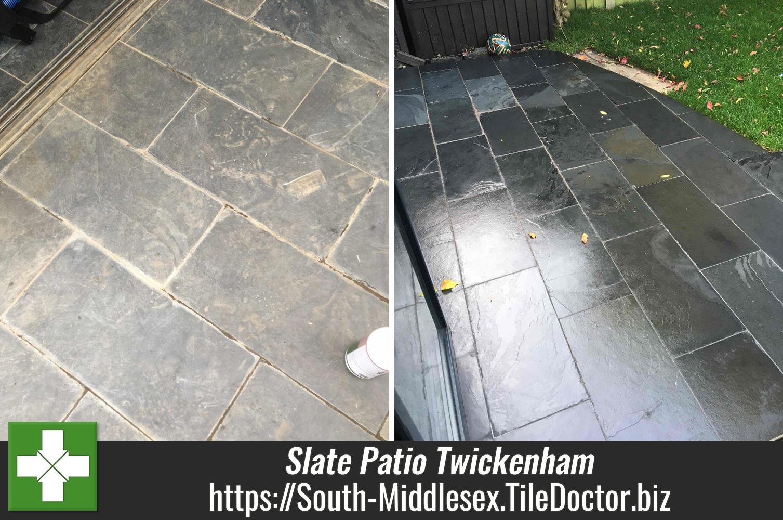 Faded Slate Patio Before After Renovation Twickenham